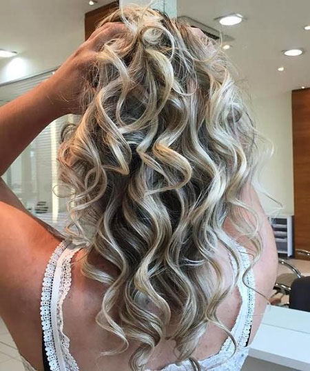 Blonde Wedding Long Curls Prom Dark Curly Classy