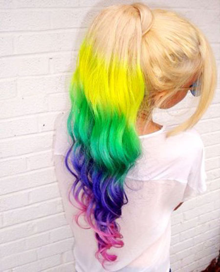 Rainbow, Ponytail, Colorful, Wavy, Twists, Really, Ponytails, Ombre