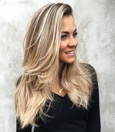 Balayage Long Blonde Straight Locks Layered