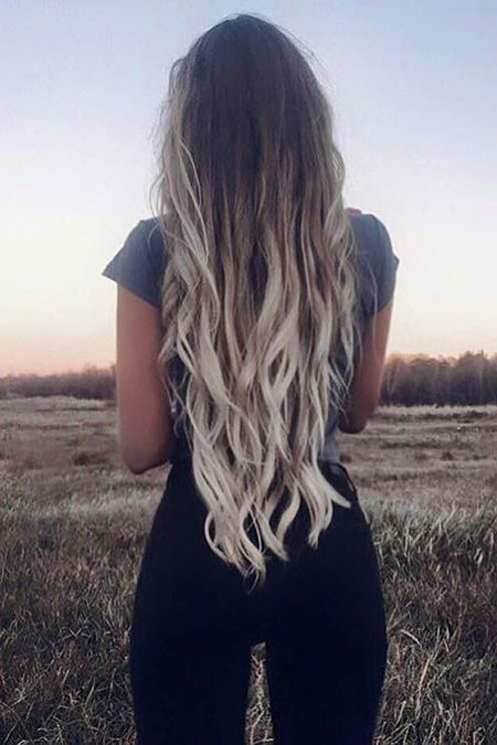Blonde Ombre Long Ash Women Platinum French Coloured