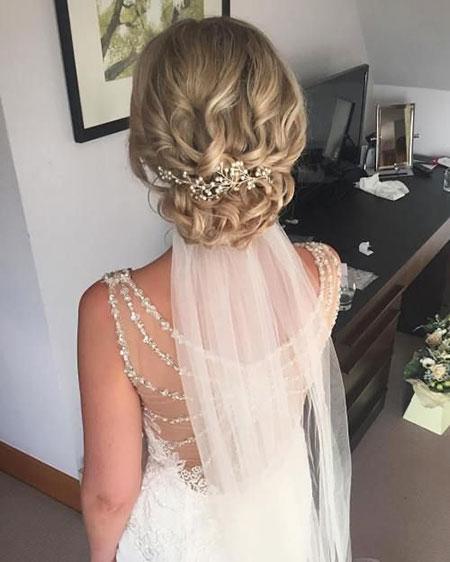 Wedding, Updo, Bridal, Medium, Veil, Loose, Day, Curly