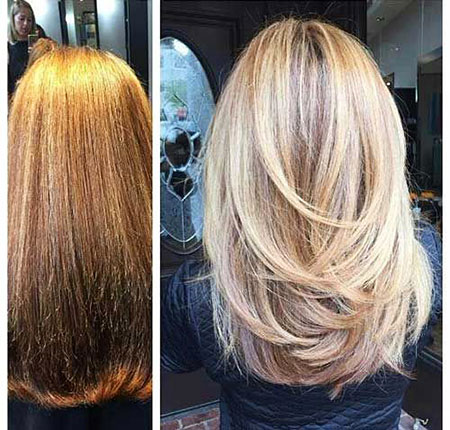 Layered Blonde Medium Long Highlights Lowlights