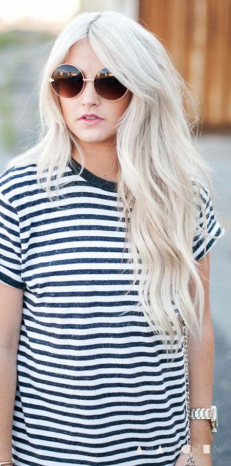 Blonde White Waves Sunglasses Messy Long Light Length