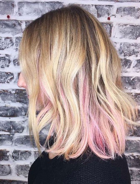 Pink, Textured, Rose, Natural, Mid, Length, Highlights, Gold