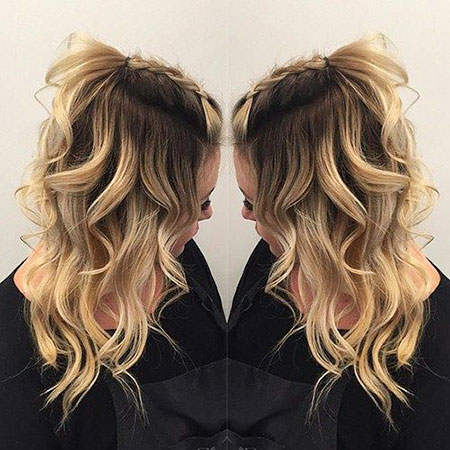 Up, Half, Fall, Curly, Blonde, Balayage, Women, Ombre