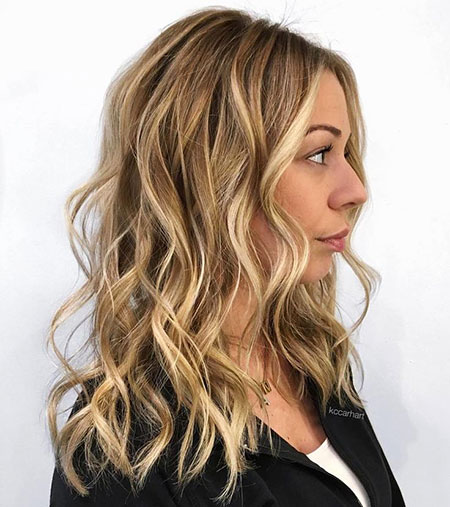 Blonde, Balayage, Wavy, One, Medium, Locks, Light, Honey, Highlights