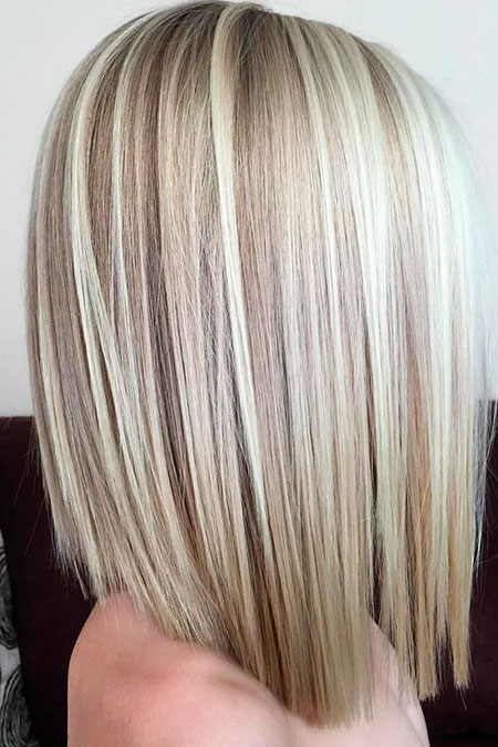 Blonde, Medium, Length, Highlights, Bob, Lowlights, Bobs, Blunt