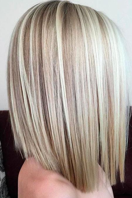 Blonde, Medium, Length, Highlights, Bob, Lowlights, Bobs, Blunt