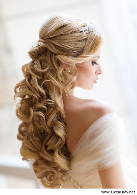 Wedding Styles Long Day Curls Blonde Around