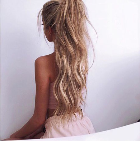 Blonde, Long, Trendy, Pretty, Ponytail, Ombre, Girl