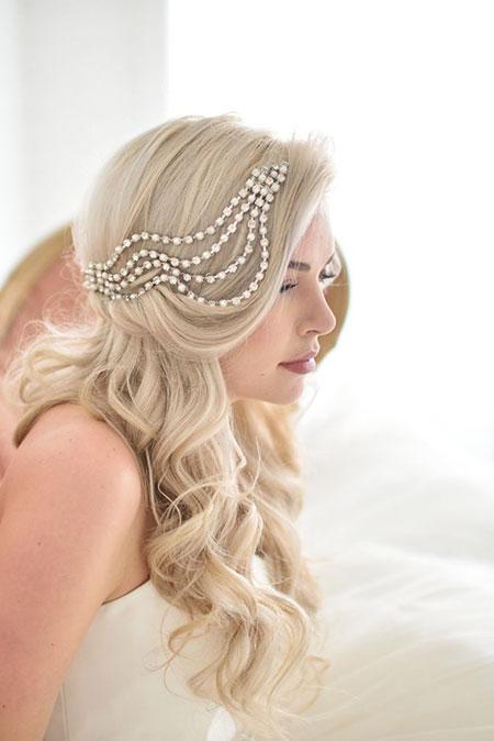 Wedding, Bridal, Veil, Long, Headpieces, Headband, Curls, Bun