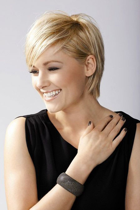 Short Hairstyles, Women, Round, Pixie Cut, Long, Jenna, Front