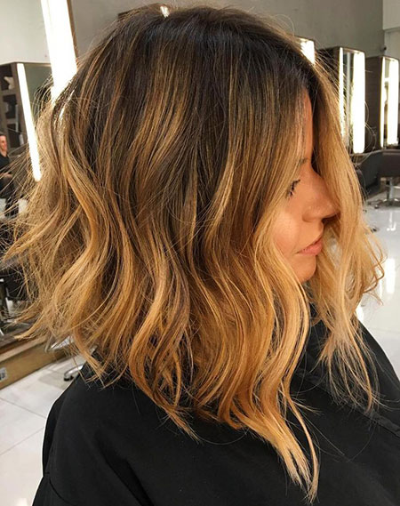 Balayage, Ombre, Blonde, Lob, Caramel, Women, Medium, Length