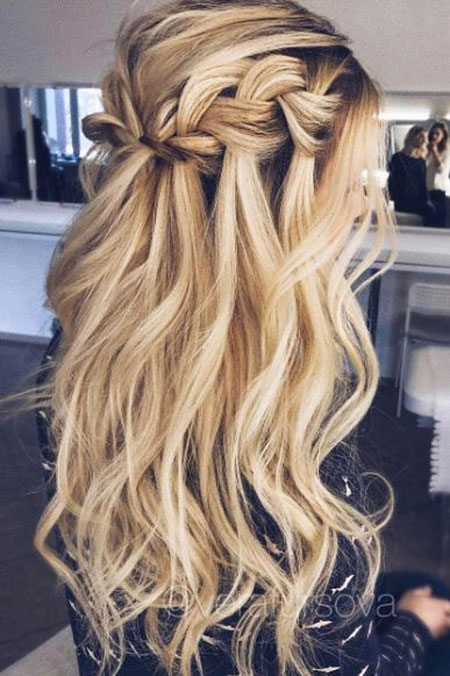 Waterfall Braid Wedding Waves Fashion Down