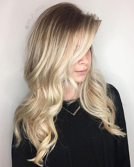 Blonde Balayage Long Layered Waves One Ombre Face