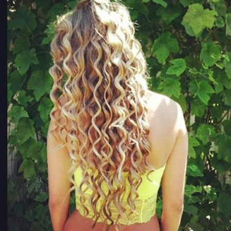 Curly Long Curls Blonde Waterfall Short Red Part Head