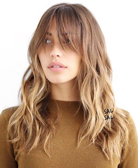 Long Layered Bangs Trendy Soft Side Shaggy Ombre