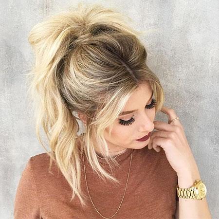 Blonde, Ponytail, Messy, Bangs, Balayage, Sexy, Lengths