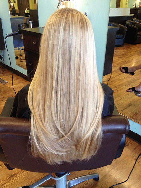 Blonde Long Highlights Shades Layered Clip Balayage