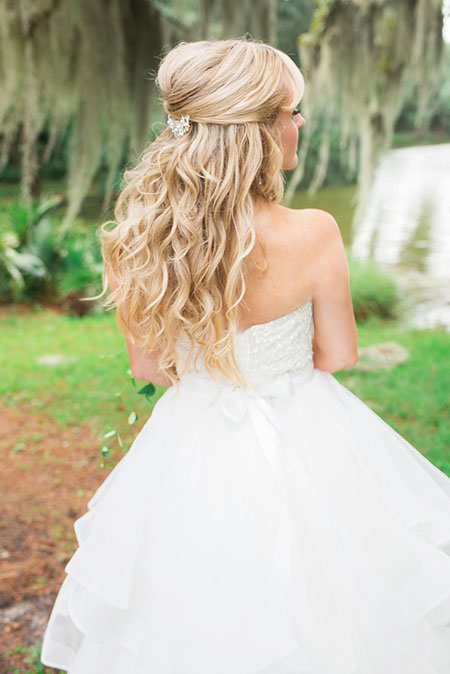 Wedding, Long, Curls, Blonde, Waterfall, Up, Half, Female, Bridal, Braid