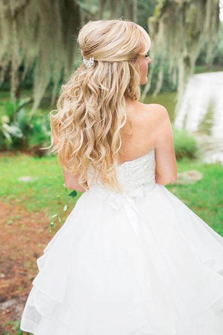 Wedding, Long, Curls, Blonde, Waterfall, Up, Half, Female, Bridal, Braid