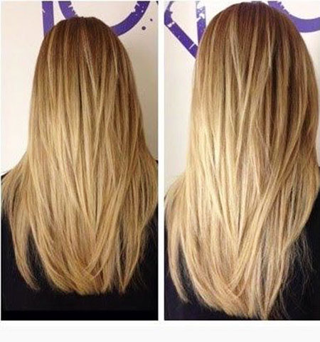 Long Straight Layered Highlights Blonde Textures