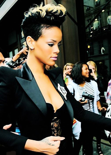 Short Hairstyles, Women, Rock, Rihanna, Over, Mohawk
