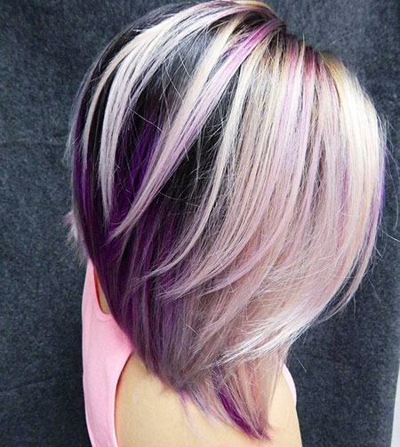Purple, Blonde Bob Hairstyles, Layered, Highlights