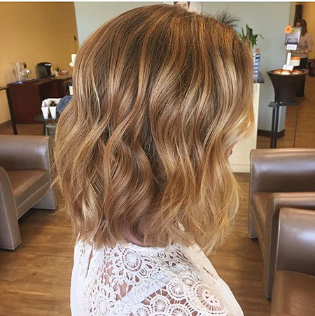 Blonde, Honey, Short, Balayage, Ombre, Medium, Lob, Highlights