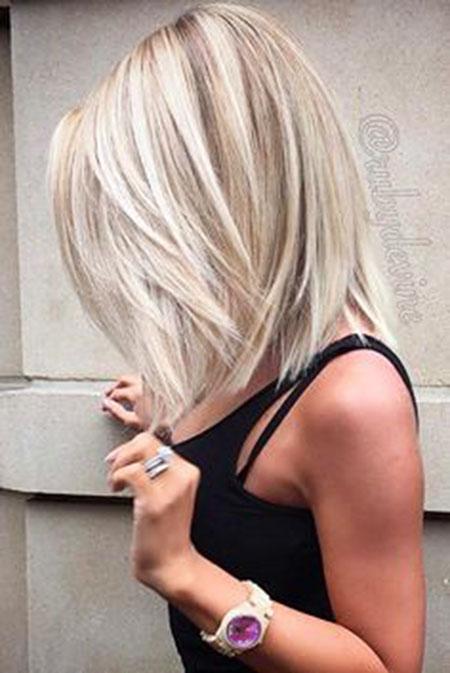 Blonde Length Bobs Bob Woman Types Thick Short