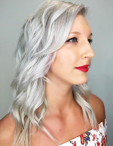 Silver, Swept, Side, Blonde, Bangs, Wavy, Short, Over, One, Medium, Long