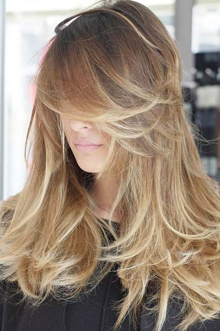 Blonde Bangs Balayage Tips Ombre Modern Long Locks Layered Highlights
