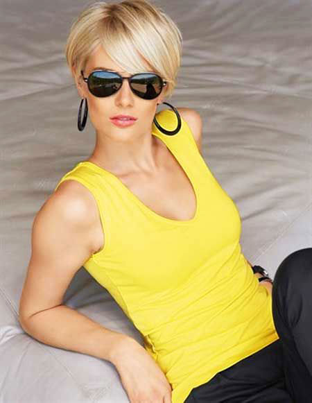 Short Hairstyles, Pixie Cut, 2017, Yellow, Women, Really