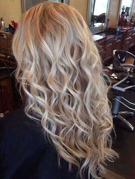 Blonde, Perm, Loose, Highlights, Balayage, Waves, Wave, Curls