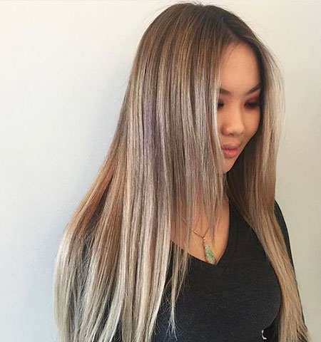 Blonde Balayage Ombre Highlights Asian Long Dark Ash 2017