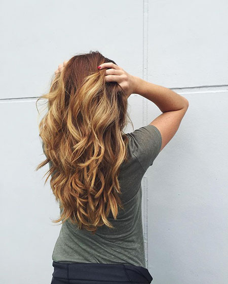 Long Layered Brown Wavy Layers Honey Blonde