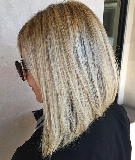 Blonde, Medium, Lob, Highlights, Bob, Balayage, Women, Long, Length