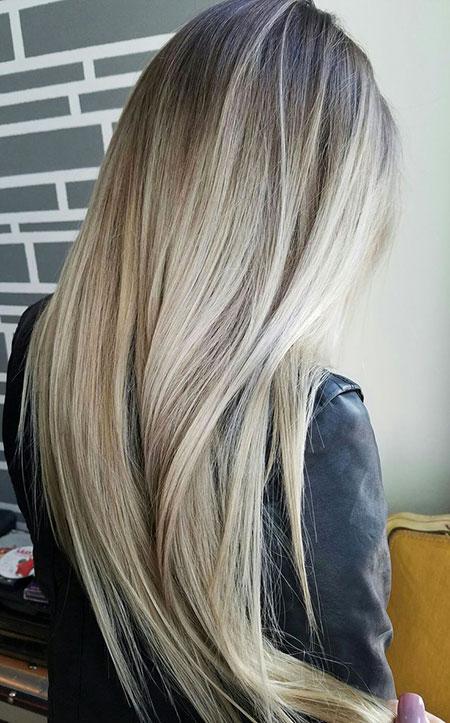 Blonde Balayage Long Highlights Platinum Lowlights