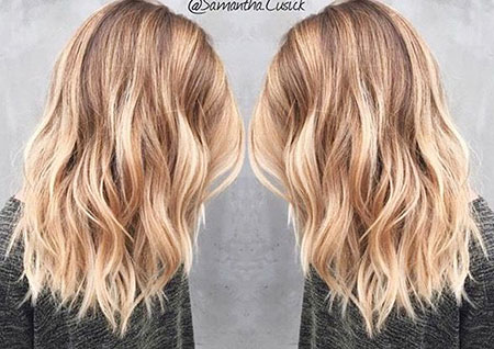 Blonde, Blond, Balayage, Ombre, Medium, Length, Highlights, Ends