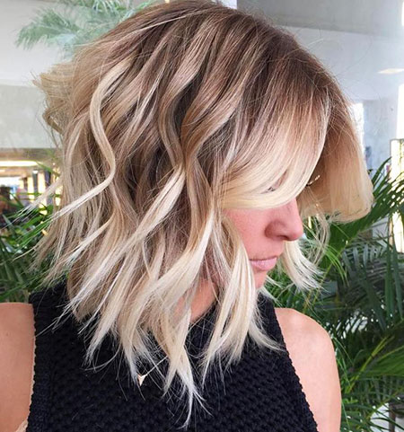 Blonde, Wavy, Bob, Balayage, Length, Trendy, Textured, Mid