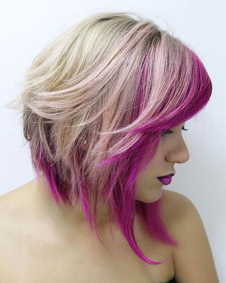 Purple, Pink, Blonde Bob Hairstyles, Medium