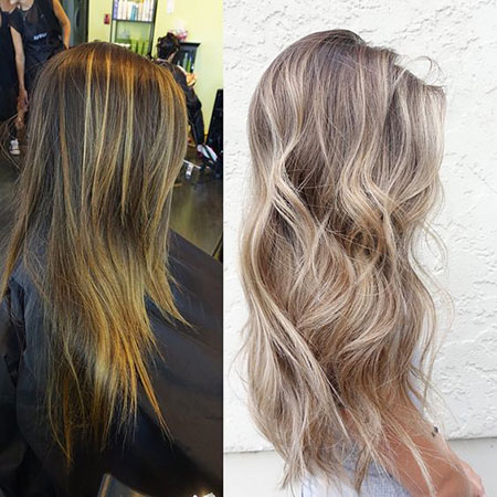 Blonde Balayage Ash Beige Ombre Modern