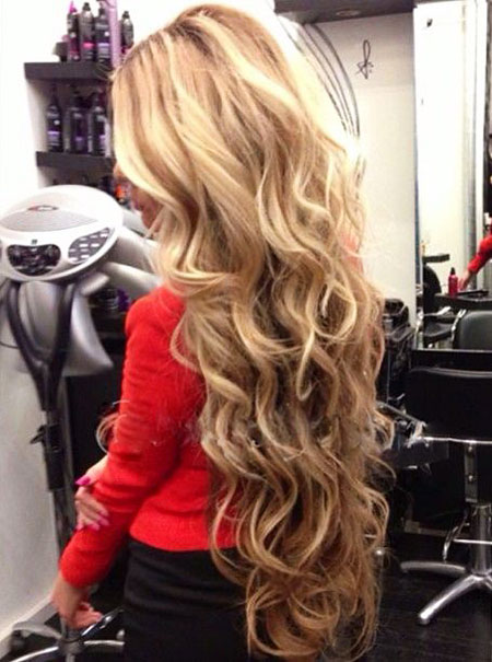 Long Blonde Curls Naturally Fashion Curled Curl