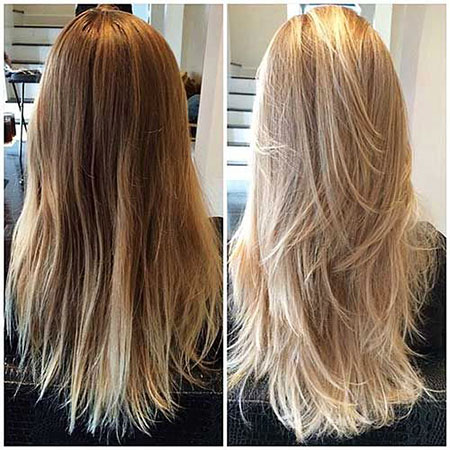 Blonde Long Highlights Layered Full Straight