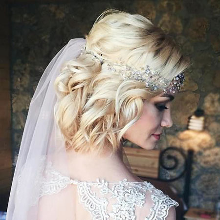 Wedding, Bridal, without, Updo, Slightly, Mid, Length, Down