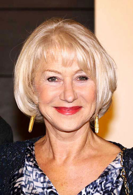 Short Hairstyles, Women, Mirren, Medium, Shaggy, Older, Mature