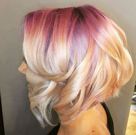 Gold, Blonde Hairstyles, Short Hairstyles, Rose, Wavy, Updo, Thick, Medium, Length