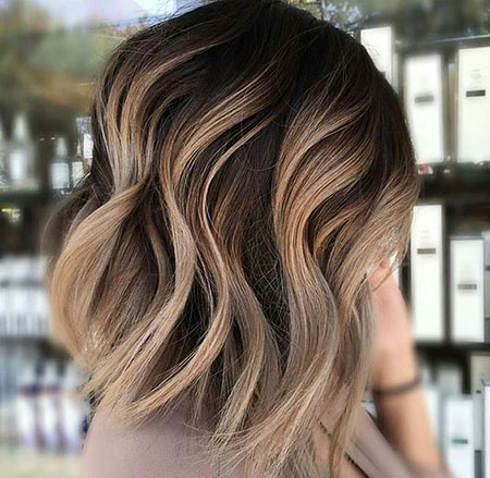 Balayage, Brown, Blonde, Short, Ombre, Waves, Long
