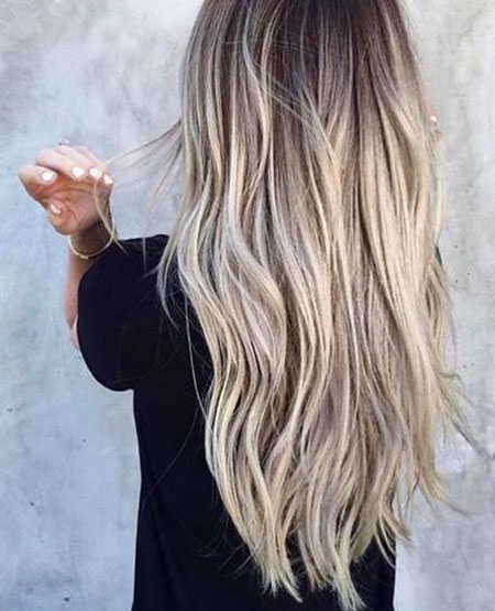 Blonde Wavy Ombre Long Balayage Summer Ash