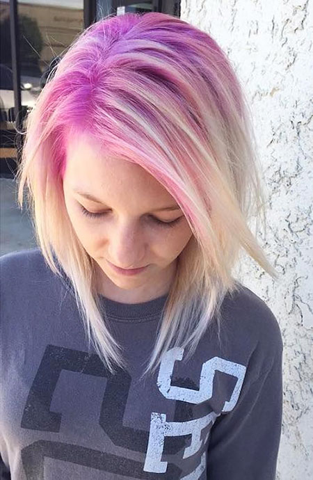 Pink, Blonde Hairstyles, Short Hairstyles, Rose, Pastel, Pale, Over, Golden, Colored